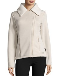 Jack Wolfskin Terra Nova Asymmetrical Zip Front Fleece Lined Performance Jacket Light Sand