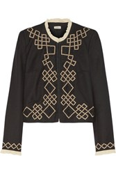 Talitha Talia Embellished Appliqued Wool Twill Jacket Black