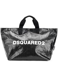 Dsquared2 Logo Printed Tote Bag Medium Black