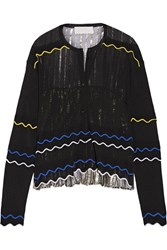 Peter Pilotto Paneled Stretch Knit And Pleated Silk Blend Lame Cardigan Black