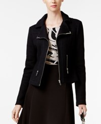 Alfani Petite Textured Moto Jacket Only At Macy's Deep Black