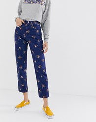 Wrangler High Rise Mom Jean In Floral Print Blue