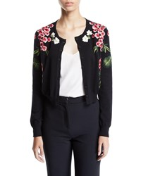 Oscar De La Renta Floral Embroidered Cardigan Black Pattern