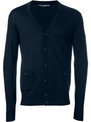 Dolce And Gabbana V Neck Cardigan Blue