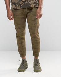 Pull And Bear Pullandbear Skinny Fit Camo Joggers In Khaki Khaki Green