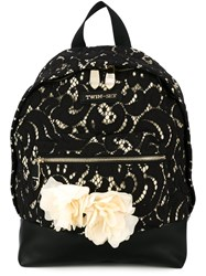 Twin Set Lace Backpack Black