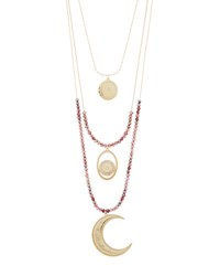 Lydell Nyc Three Row Charm Pendant Necklace Gold