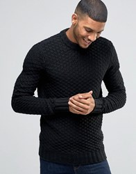 Bellfield Chunky Textured Knitted Jumper Black