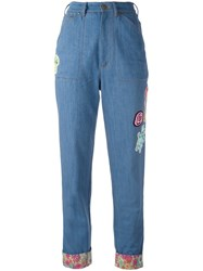 Olympia Le Tan Floral Turn Up Beaded Jeans Blue