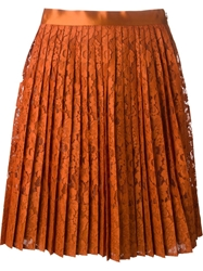 Givenchy Pleated Floral Lace Skirt Yellow And Orange