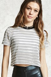 Forever 21 Striped Mesh Cropped Tee Ivory Black