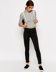 Only Leggings With Contrast Piping Black