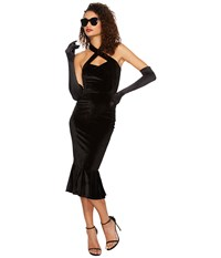 Unique Vintage Cross Halter Nicolette Wiggle Dress Black Women's Dress