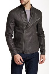 Star Usa By John Varvatos Coated Moto Zip Linen Jacket Gray