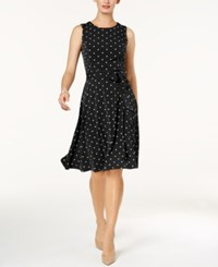 Charter Club Petite Dot Print Fit And Flare Dress Created For Macy's Deep Black Combo