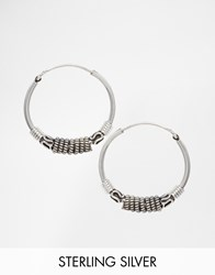 Reclaimed Vintage Sterling Silver Wire Wrap Hoop Earrings Silver