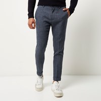 River Island Mens Blue Textured Skinny Cropped Trousers