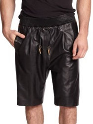 Giuseppe Zanotti Embeliished Racing Stripe Leather Shorts Black