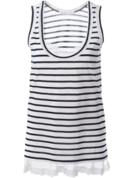 Sacai Luck Lace Hem Striped Tank Top White