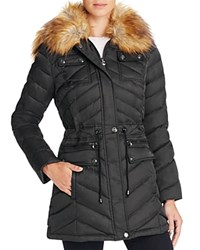 Laundry By Shelli Segal Faux Fur Trim Anorak Black