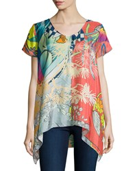 Johnny Was Elly Short Sleeve Silk Printed Tunic Women's Multi