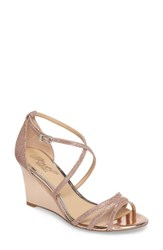 Jewel Badgley Mischka Women's Hunt Glittery Wedge Sandal Rose Gold