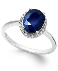 Macy's Sapphire And White Sapphire Oval Ring In 10K White Gold 2 1 4 Ct. T.W. Blue