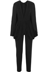 Elie Saab Cape Effect Silk Blend Crepe Jumpsuit Black
