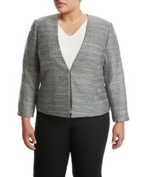 Tahari By Arthur S. Levine Tweed Open Front Jacket White
