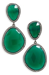 Susan Hanover Women's Semiprecious Stone Drop Earrings Emerald Green Black Silver