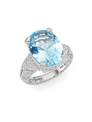 Judith Ripka Estate Oval Blue Topaz And Sterling Silver Ring