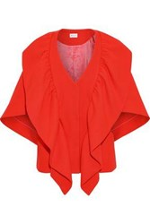 Milly Ruffled Wool Blend Cape Tomato Red
