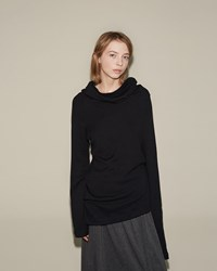 Nocturne 22 Asymmetrical Turtleneck Tee Black