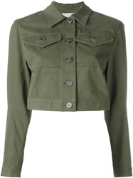 Alexander Wang T By Cropped Denim Jacket Green