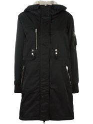 Diesel Buttoned Hooded Mid Coat Black