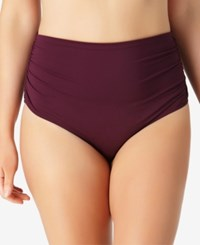 Anne Cole Plus Size High Waist Bikini Bottoms Women's Swimsuit Aubergine