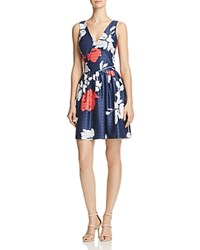 Aqua V Neck Fit And Flare Dress 100 Exclusive Navy Coral White