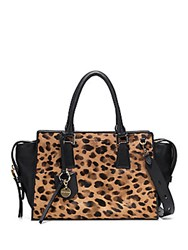 Cole Haan Marli Leather And Calf Hair Satchel Printed