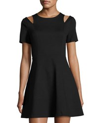 1.State Shoulder Cutout Fit And Flare Dress Black