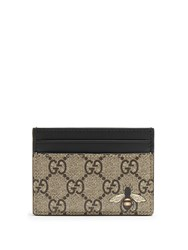 Gucci Bee Print Leather Cardholder Brown Multi
