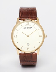 Sekonda Watch With Leather Strap 1041 Brown