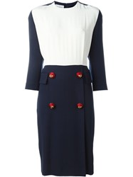 Gianfranco Ferre Vintage Contrasting Panel Midi Dress Blue
