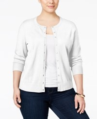 Charter Club Plus Size Long Sleeve Cardigan Only At Macy's Bright White