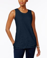 Charter Club Mixed Lace Front Top Only At Macy's Intrepid Blue