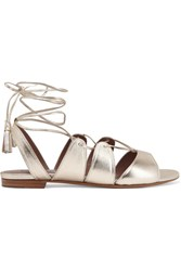 Tabitha Simmons Cruz Lace Up Metallic Leather Sandals Gold