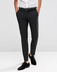 Selected Homme Suit Trouser With Mini Tartan In Skinny Fit With Stretch Black