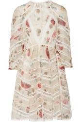 Zimmermann Mischief Paneled Guipure Lace And Floral Print Silk Organza Mini Dress Multi