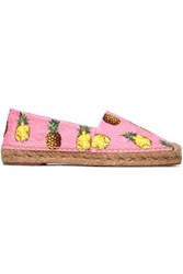 Dolce And Gabbana Printed Jacquard Espadrilles Pink
