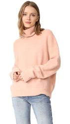 Frame Slouchy Turtleneck Sweater Dusty Pink