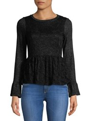 Design Lab Lord And Taylor Lace Embroidered Peplum Top Black Multi